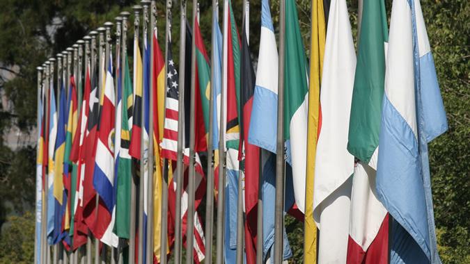 Banderas en el edificio de la CEPAL