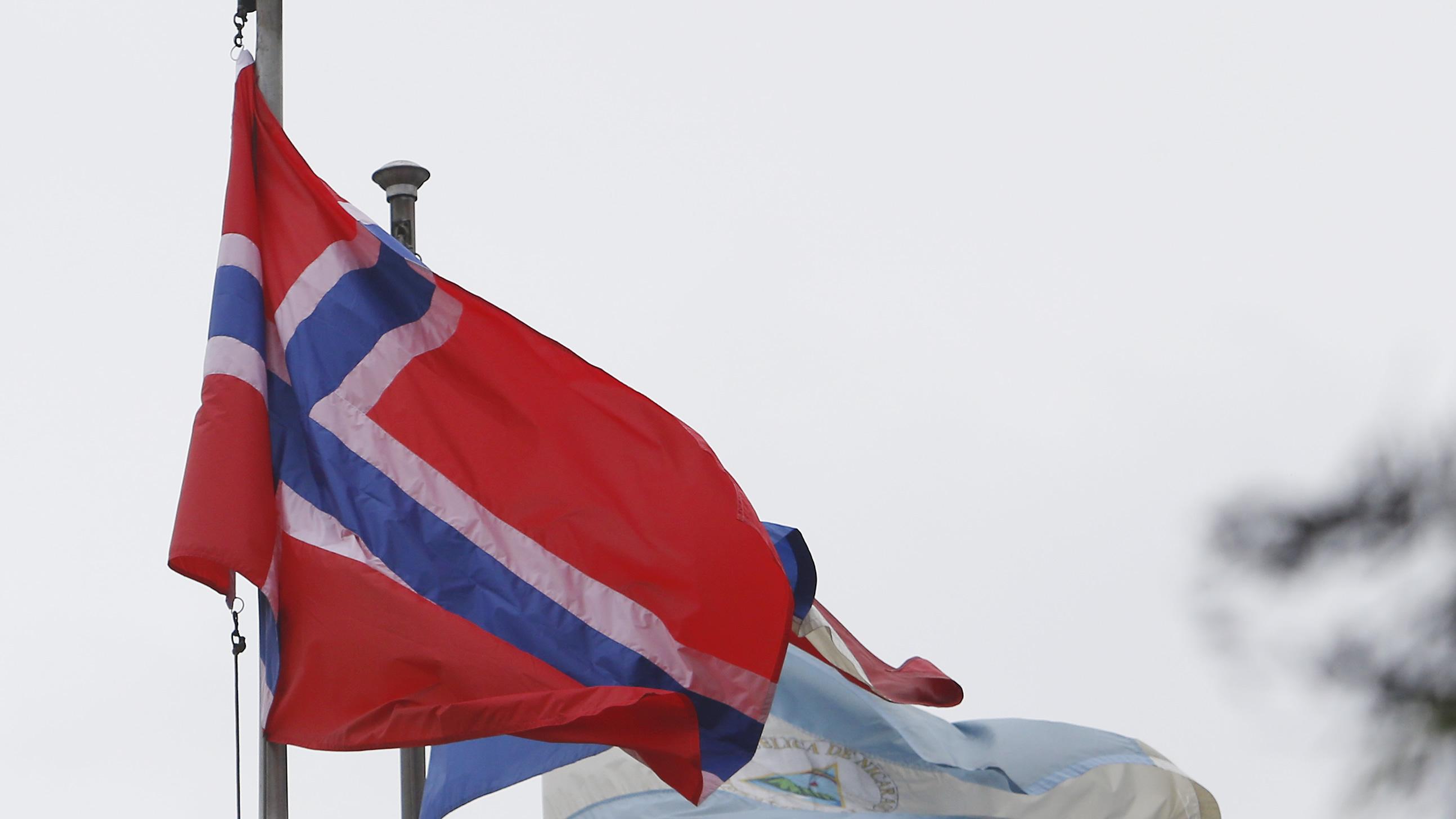 Bandera de Noruega flameando en la CEPAL