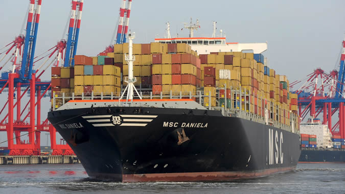 Image of a cargo ship carrying containers