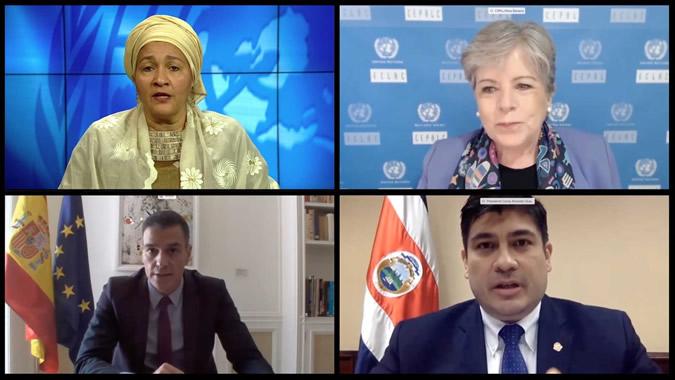 Amina Mohamed, Vicesecretaria General de la ONU; Alicia Bárcena, Secretaria Ejecutiva de la CEPAL; Pedro Sánchez, Presidente del Gobierno de España y Carlos Alvarado, Presidente de Costa Rica.