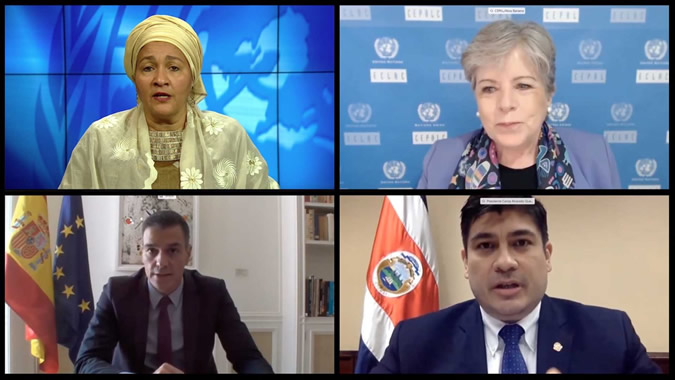 Amina Mohammed, Deputy Secretary-General of the United Nation; Alicia Bárcena, ECLAC's Executive Secretary; Pedro Sánchez, President of the Government of Spain, and Carlos Alvarado, President of Costa Rica.