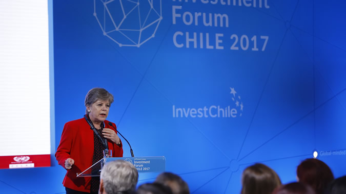 Alicia Bárcena, Executive Secretary of ECLAC, during her presentation at the IV International Investment Forum Chile.