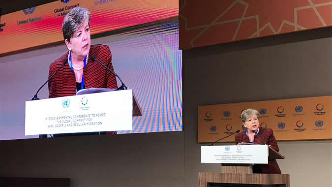 Alicia Bárcena, ECLAC's Executive Secretary during her presentation.