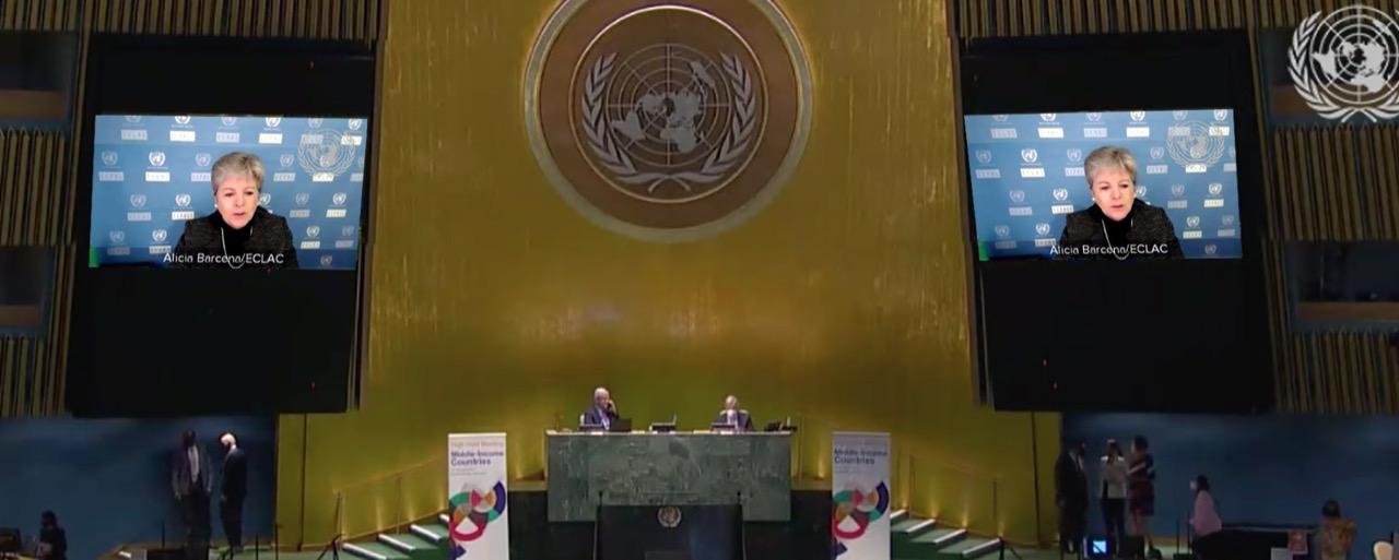 Alicia Bárcena, Secretaria Ejecutiva de la CEPAL, en el evento de la Asamblea General de la ONU