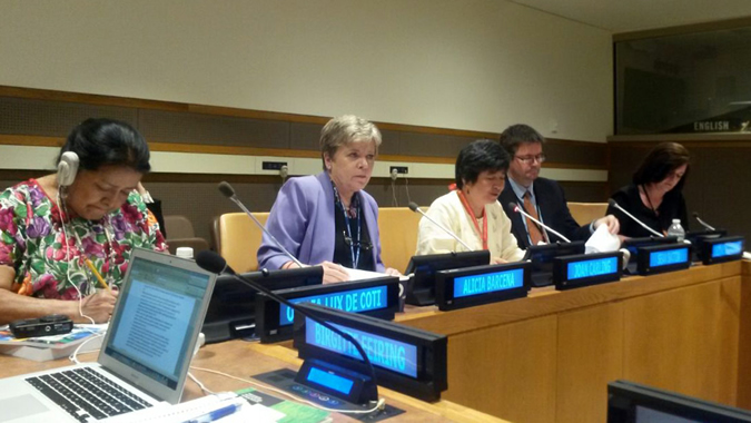 ECLAC Executive Secretary Alicia Bárcena during a meeting on indigenous peoples in New York.