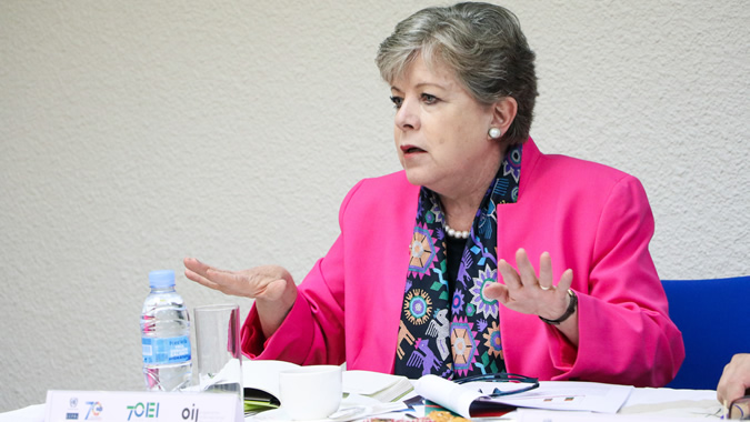 ECLAC Executive Secretary, Alicia Bárcena, during her presentation at the breakfast meeting ECLAC-OEI-OIJ, in Madrid