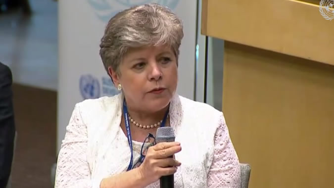 """Alicia Bárcena during her presentation in the event """"Where are we heading? Visions and projections for the future of the SDGs""""."""