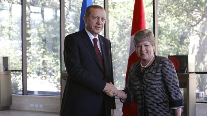 El Presidente de Turquía junto a la Secretaria Ejecutiva de la CEPAL