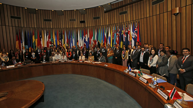 Delegates participating in the fifth meeting of the negotiating committee of the agreement on Principle 10 in Latin America and the Caribbean