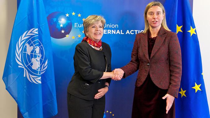 foto de Alicia Bárcena y Federica Mogherini.