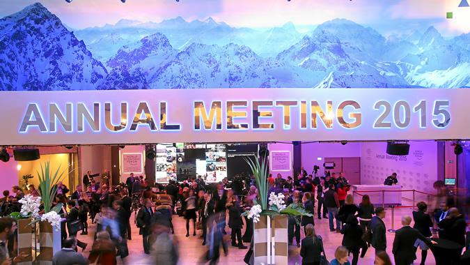Vista de la sede de la reunión anual 2015 del Foro Económico Mundial en Davos, Suiza