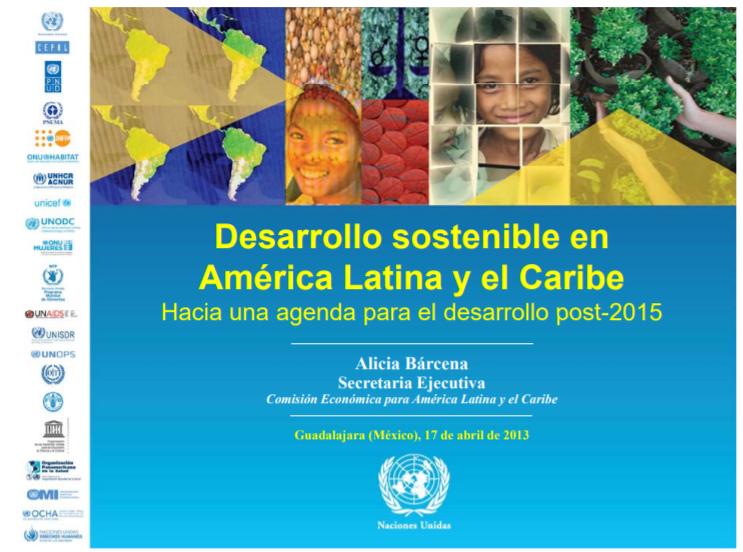 Presentación de Alicia Bárcena-Hacia una Agenda para el Desarrollo post-2015