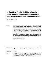 La República Popular de China y América Latina: impacto del crecimiento económico chino en las exportaciones latinoamericanas