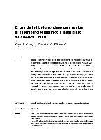 El uso de indicadores clave para evaluar el desempeño económico a largo plazo de América Latina