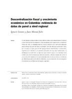 Descentralización fiscal y crecimiento económico en Colombia: evidencia de datos de panel a nivel regional
