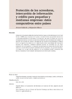 Protección de los acreedores, intercambio de información y crédito para pequeñas y medianas empresas: datos comparativos entre países