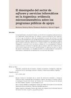 El desempeño del sector de software y servicios informáticos en la Argentina: evidencia microeconométrica sobre los programas públicos de apoyo