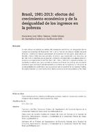 Brasil, 1981-2013: efectos del crecimiento económico y de la desigualdad de los ingresos en la pobreza