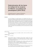 Determinantes de las horas de trabajo de las mujeres en México: un enfoque de pseudopanel (2005-2010)