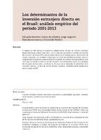 Los determinantes de la inversión extranjera directa en el Brasil: análisis empírico del período 2001-2013