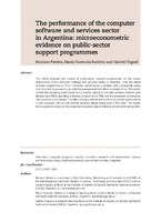 The performance of the computer software and services sector in Argentina: microeconometric evidence on public-sector support programmes