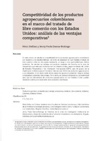 Competitividad de los productos agropecuarios colombianos en el marco del tratado de libre comercio con los Estados Unidos: análisis de las ventajas comparativas