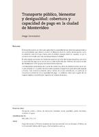 Transporte público, bienestar y desigualdad: cobertura y capacidad de pago en la ciudad de Montevideo
