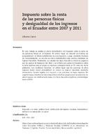 Impuesto sobre la renta de las personas físicas y desigualdad de los ingresos en el Ecuador entre 2007 y 2011