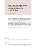 Determinantes y diferencias territoriales en materia de satisfacción laboral: el caso de Chile