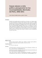 Canon minero y ciclo político presupuestal en las municipalidades distritales del Perú, 2002-2011