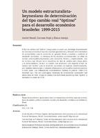 """Un modelo estructuralista-keynesiano de determinación del tipo cambio real """"óptimo"""" para el desarrollo económico brasileño: 1999-2015"""
