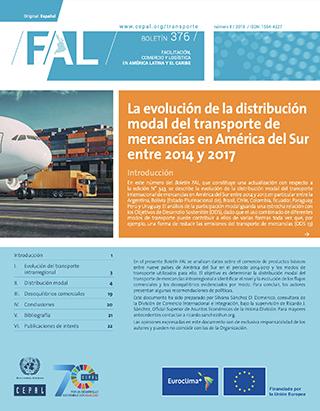 La evolución de la distribución modal del transporte de mercancías en América del Sur entre 2014 y 2017