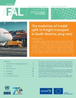 The evolution of modal split in freight transport in South America, 2014–2017