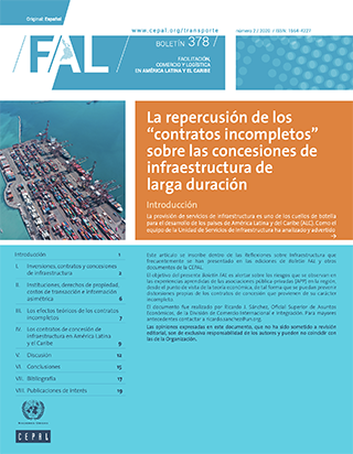 """La repercusión de los """"contratos incompletos"""" sobre las concesiones de infraestructura de larga duración"""