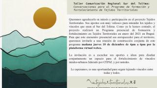 """Taller de comunicación regional """"Imaginando nuevos tejidos territoriales para el Sur del Tolima"""""""