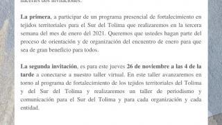 Taller de comunicación para el Sur del Tolima