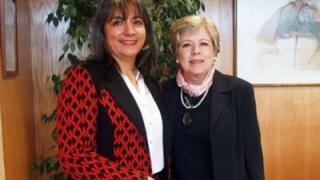 La Ministra de Desarrollo Social de Chile, María Fernanda Villegas, junto a la Secretaria Ejecutiva de la CEPAL, Alicia Bárcena.