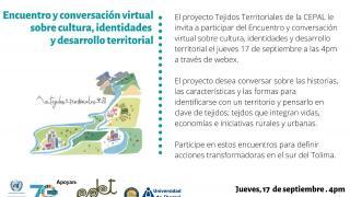 Encuentro y conversación virtual sobre cultura, identidades y desarrollo territorial
