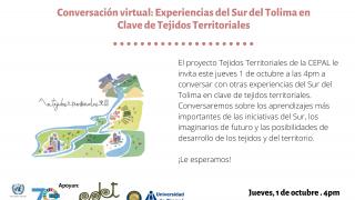 Experiencias del Sur del Tolima en clave de Tejidos Territoriales