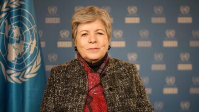 Alicia Bárcena, ECLAC's Executive Secretary, during her presentation.