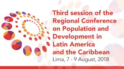 Banner of the third meeting of the Regional Conference on Population and Development.