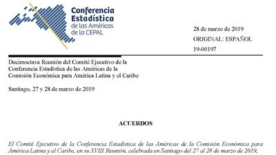 Acuerdos de la XVIII Reunión del Comité Ejecutivo de la Conferencia Estadísticas de las Américas de la CEPAL