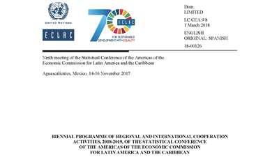 Biennial programme of regional and international cooperation activities, 2018-2019, of the SCA-ECLAC