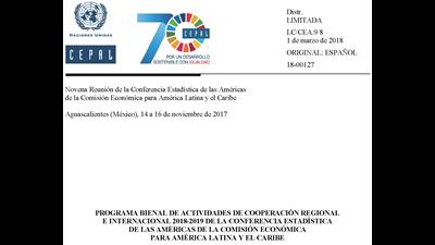 Programa bienal de actividades de cooperación regional e internacional 2018-2019 de la CEA-CEPAL