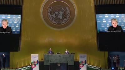 Alicia Bárcena, Secretaria Ejecutiva de la CEPAL, en el evento de la Asamblea General de la ONU.