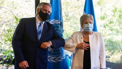 El Presidente de Argentina, Alberto Fernández, y la Secretaria Ejecutiva de la CEPAL, Alicia Bárcena.