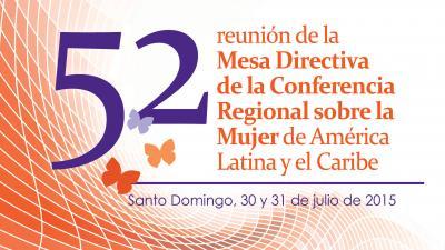 Imagen del logo de la Quincuagésima segunda reunión de la Mesa Directiva de la Conferencia Regional sobre la Mujer de América Latina y el Caribe