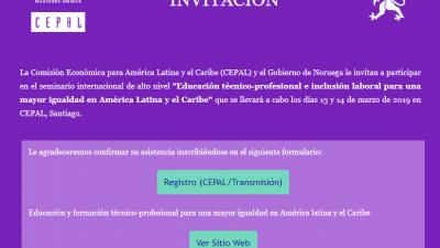 Seminario Educación técnico-profesional e inclusión laboral para una mayor igualdad en América Latina y el Caribe
