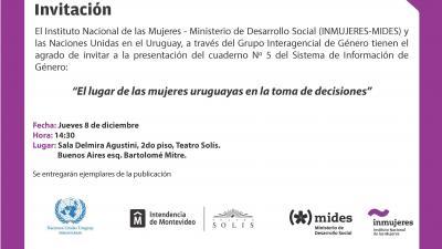 """Presentación del cuaderno Nº 5 del Sistema de Información de Género: """"El lugar de las mujeres uruguayas en la toma de decisiones"""""""