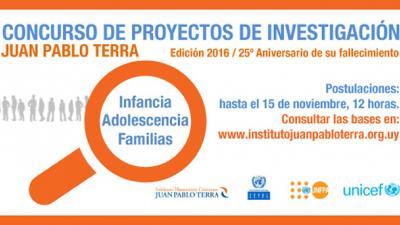 Concurso de proyectos de investigación sobre infancia, adolescencia y familia en Uruguay